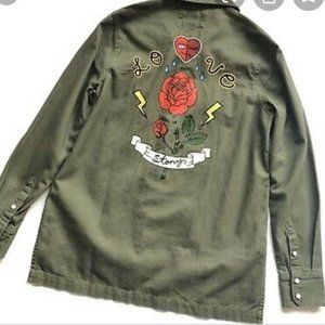 Love Strong Army Green Military Style Snap Shirt
